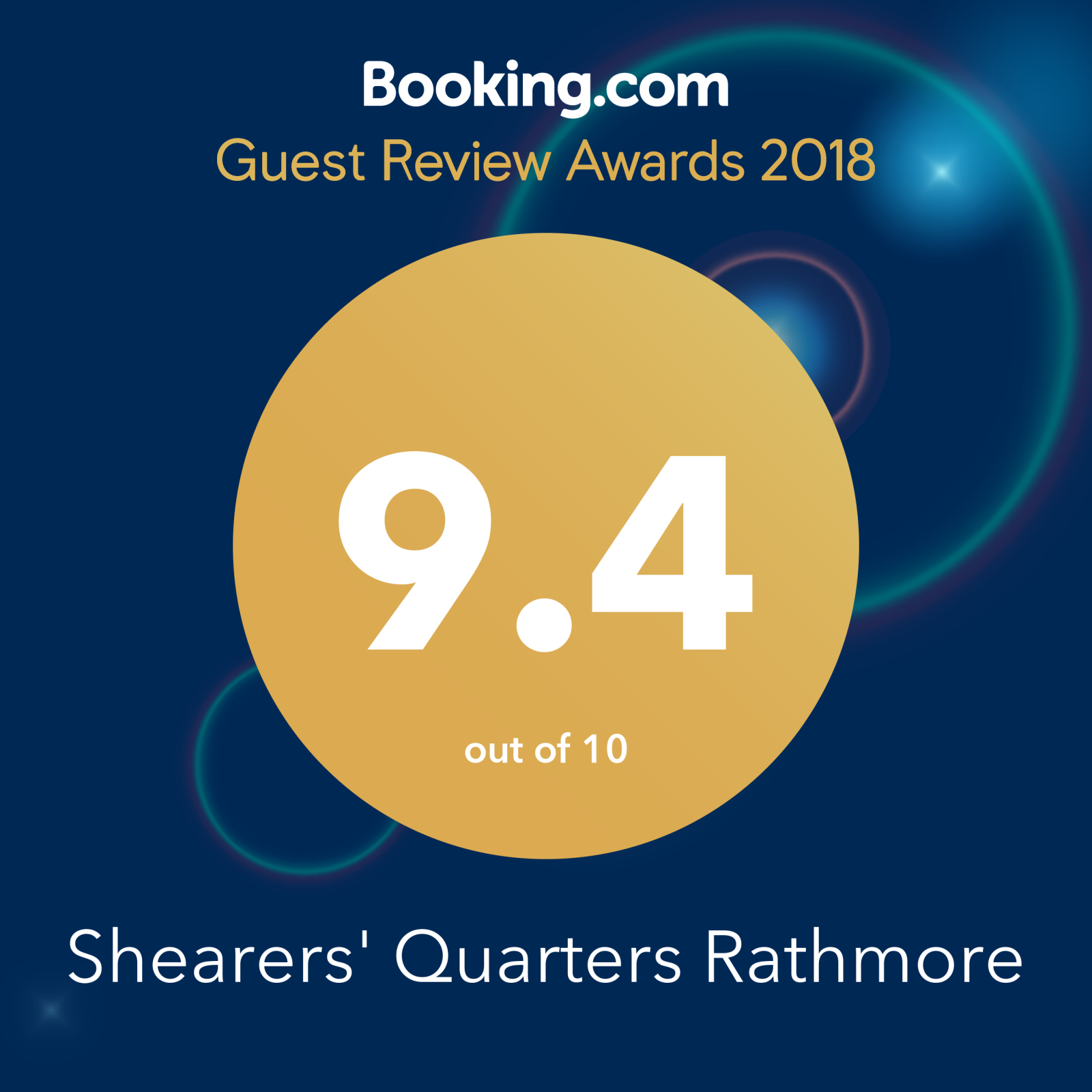 shearers quarters booking.com award